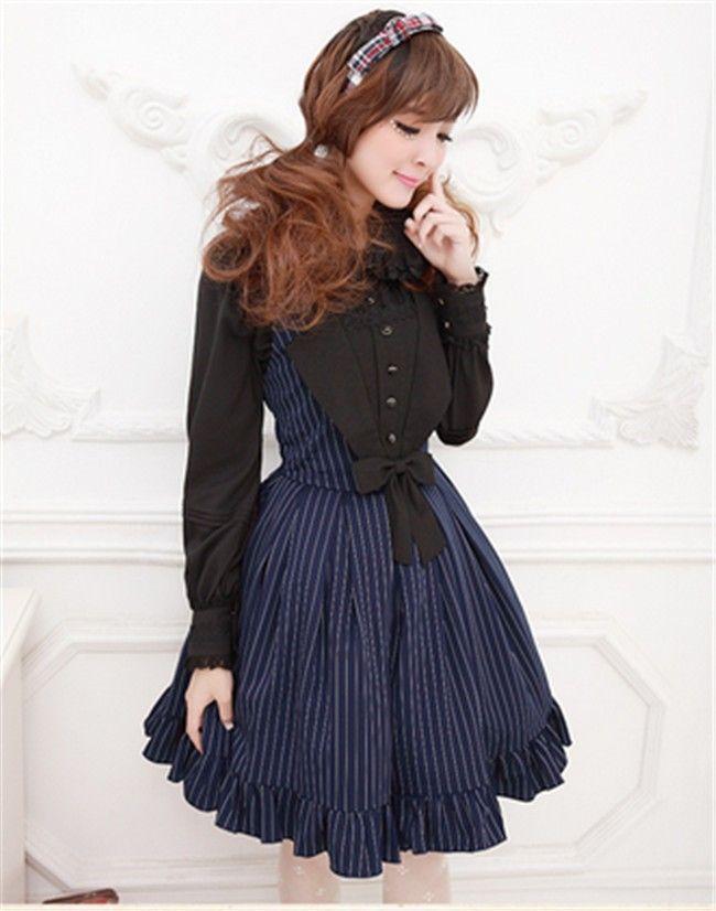 Sweet Girls' Lolita Stripe Salopette