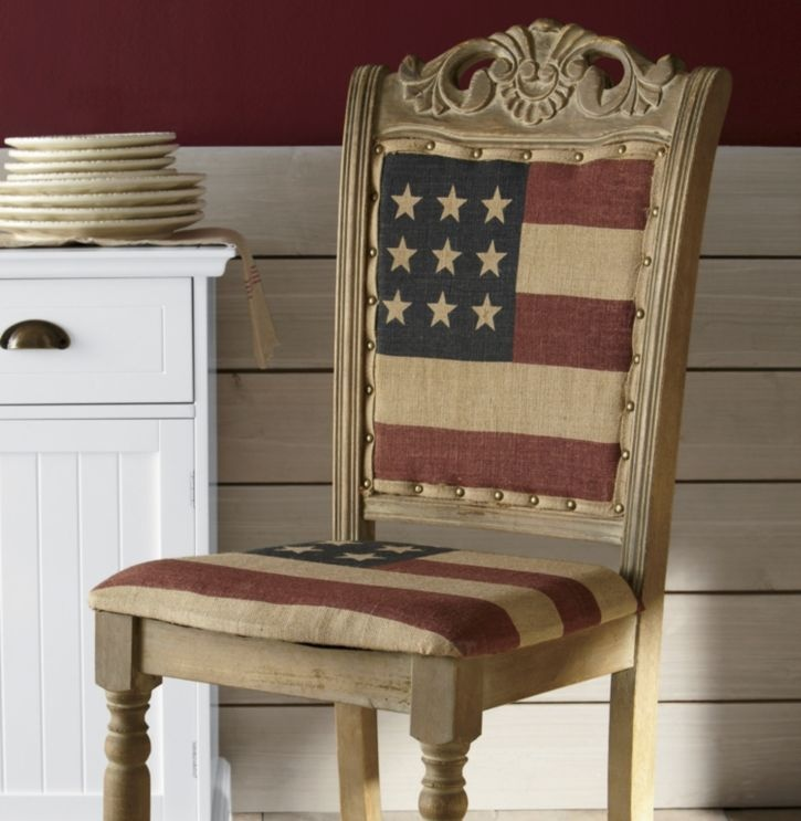 American Flag Chair. I would never sit on the US flag. Instead I would have had just the stripes.