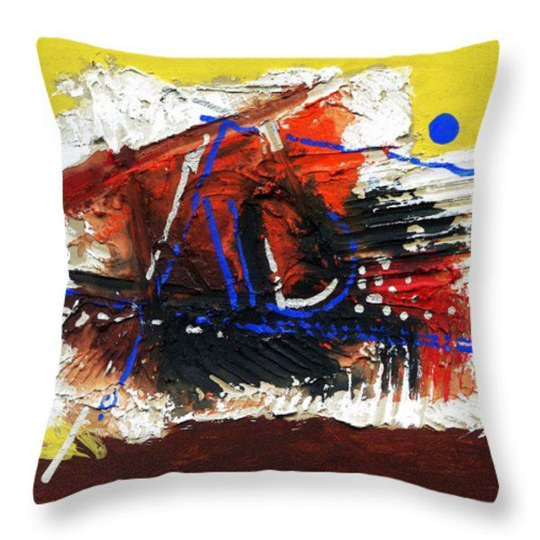 Throw Pillow featuring the painting Life Of Circle - V by Rupam Shah