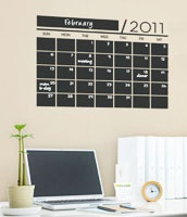 Here is a great wall calendar idea, that has a chalkboard surface. I want it on my wall!