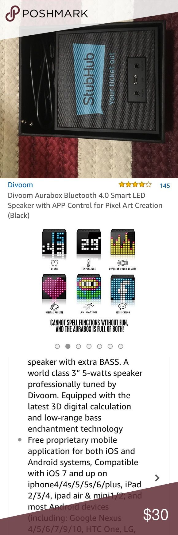 """Divoom Aurabox Bluetooth Smart LED Speaker w/ APP Divoom Aurabox Bluetooth 4.0 Smart LED Speaker with APP Control for Pixel Art Creation   New and unused!   Great gift 🎁 for 🎶 music and concert fans!   Mine says """"Stubhub"""" on it, as shown in the picture. divoom Other"""