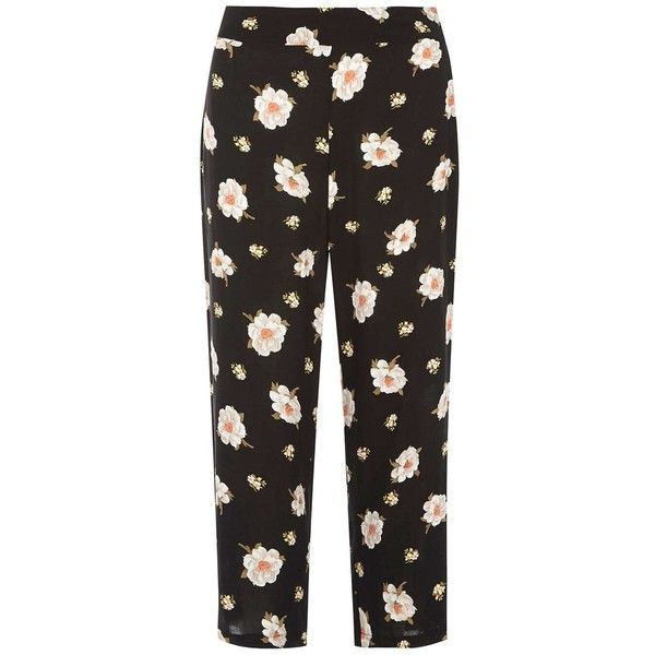 Dorothy Perkins Black and Yellow Floral Cropped Trousers ($39) ❤ liked on Polyvore featuring pants, capris, metallic, cropped capri pants, floral print trousers, floral print pants, yellow cropped pants and floral pants