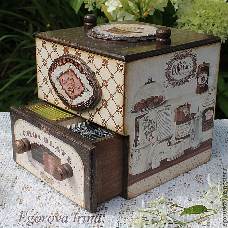 """Купить Короб,мини комод для чая и сладостей """"Шоколадное безумие"""" - бежевый, коричневый, короб для хранения"""