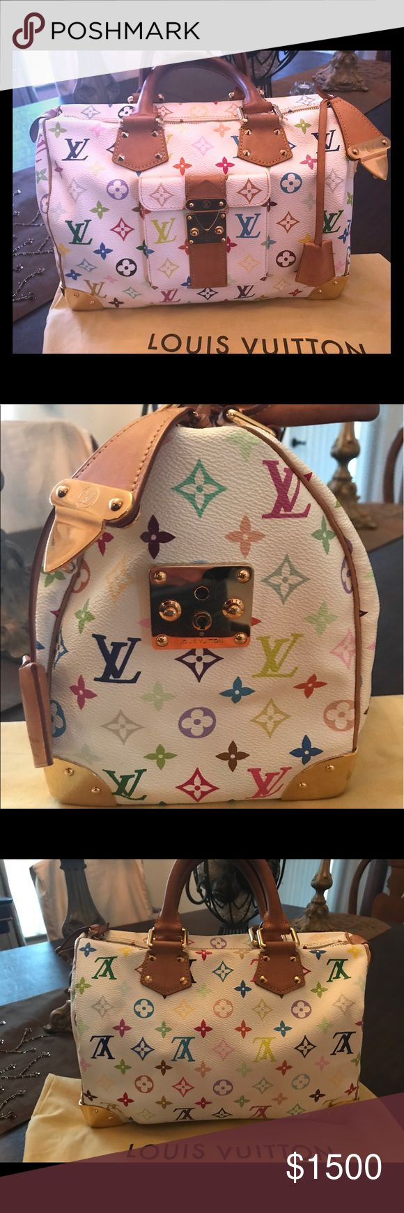 Louis Vuitton Speedy 30 Murakami Handbag M92643 Selling a Louis Vuitton Speedy 30 Murakami Monogram Multicolor Canvas handbag M92643...this luxurious authentic Louis Vuitton handbag is pre-owned in mint condition, rarely used, gift given from recently ex husband.  Retail price $3200.00...this handbag is now discontinued and no longer available from Louis Vuitton...comes with original dust bag. Bags Totes