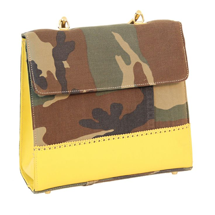 Eco-Bag anni 50 military yellow from recycled materials - Zyz Ecodesign