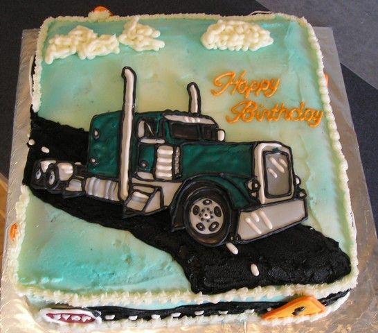 Semi Truck Cake - Semi truck made using color flow.