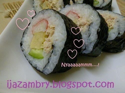 Cara senang buat norimaki sushi (sushi gulung) guna tuna dalam tin je tak payah tangkap ikan fresh kat laut :-)