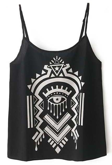 Black Spaghetti Strap Abstract Pattern Vest - Sheinside.com