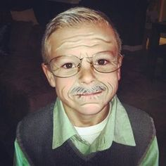 Old Man face on my 6yr old for spirit day at school. I used brown eyeliner for the dark line and white for the lighter and blended out with a sponge..so fun!