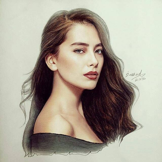 Beautiful portrait of Neslihan Atagül by jawadalghezi_art.