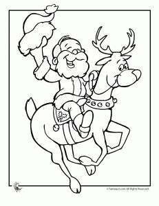 santa and reindeer coloring page - Santa Reindeer Coloring Pages
