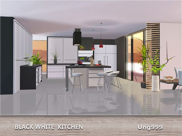 Sims 4 CC's - The Best: Black White Kitchen by ung999