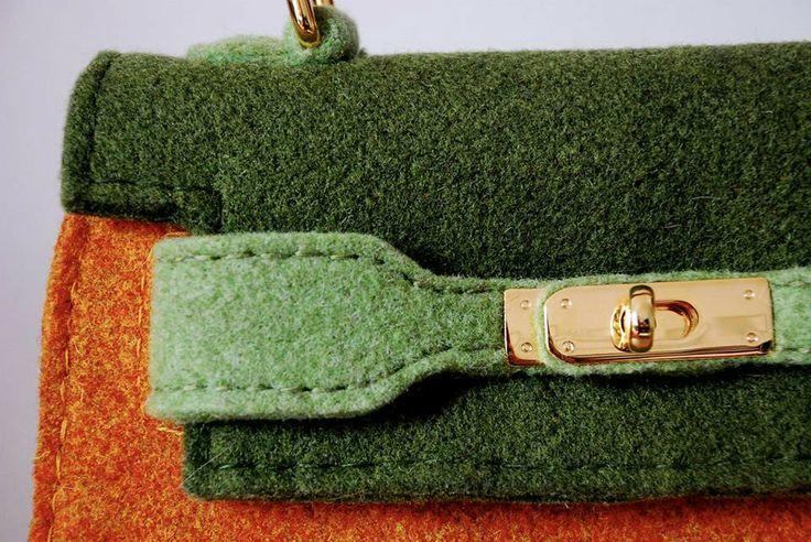 Hermes Kelly inspiration  Handmade from wool felt