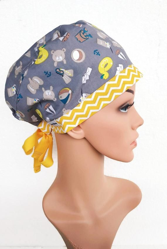 Beautiful floral on black Tie back scrub hat for Women Surgical Cap Chemo Hat \u2013 OR Hat Scrub Cap Surgical Hat Vet Hat