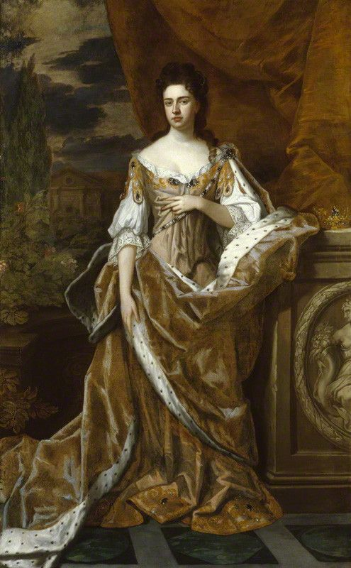 Queen Anne  by Sir Godfrey Kneller, Bt,  oil on canvas, circa 1690,  92 in. x 56 1/4 in. (2337 mm x 1429 mm)