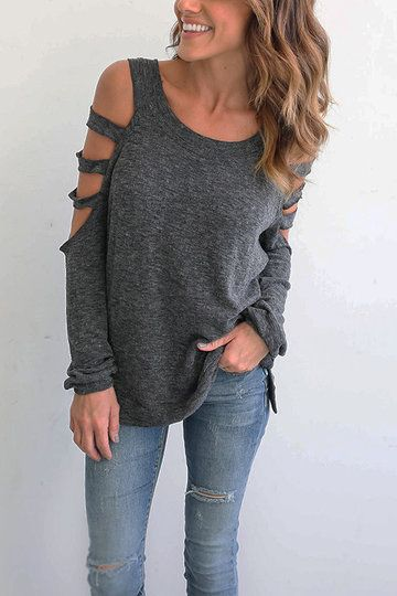 Grey Casual Round Neck Cold Shoulder Top - US$19.95 -YOINS