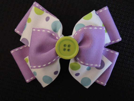 Purple, White and Green Handmade Girls Hair Bow