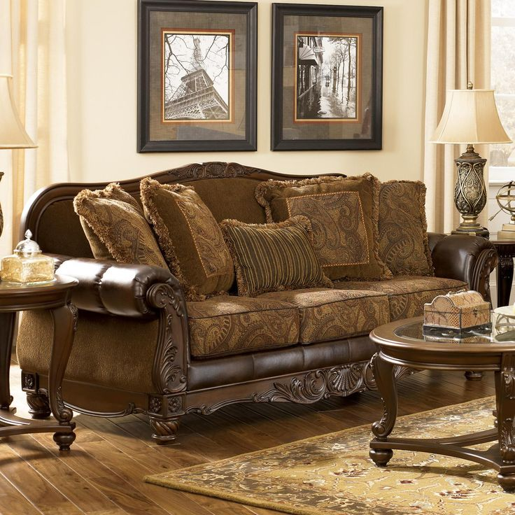 Fresco DuraBlend - Antique Traditional Stationary Sofa with Rolled ...
