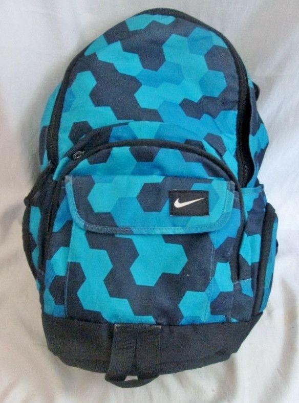 NIKE BACKPACK Shoulder Rucksack Travel Sport BAG BLACK AQUA BLUE Geometric Color Block