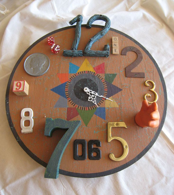 Functional Found Art Assemblage- Clock by ericasu