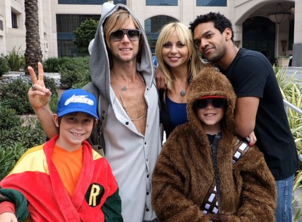 Greg Cipes, Khary Payton, Tara Strong and her sons at SDCC 2013.