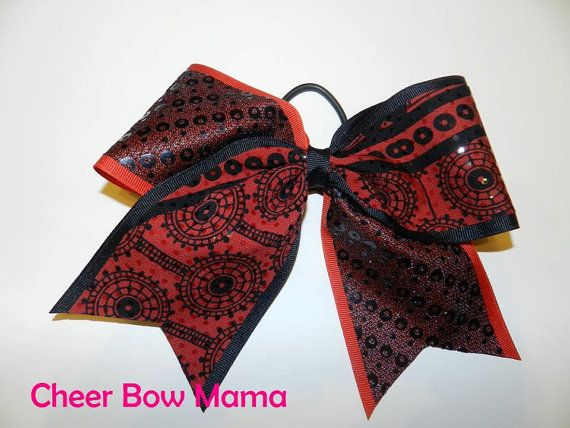 Red & Black Tick Tock Cheer Bow by Cheer Bow Mama