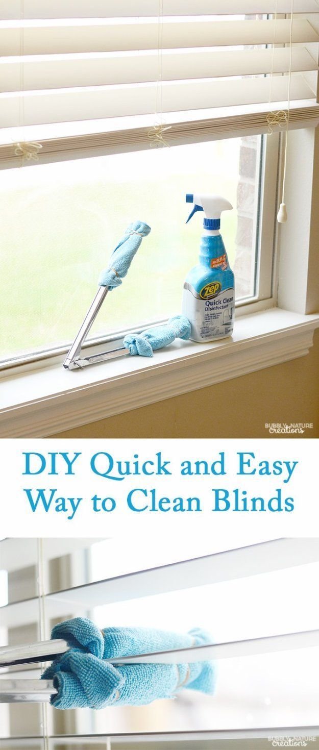 Cleaning Tips and Hacks To Keep Your Home Sparkling. Quick and Easy Way to Clean Blinds - Clever Ways to Make DYI Cleaning Easy. Bedroom, Bathroom, Kitchen, Garage, Floors, Countertops, Tub and Shower, Til, Laundry and Clothes http://diyjoy.com/best-cleaning-tips-hacks #homecleaningtips