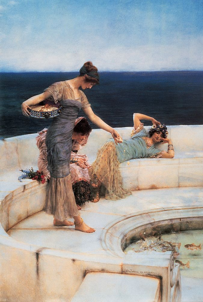 Lawrence Alma-Tadema (1836-1912) Silver Favourites, 1903, oil on wood,. An outstanding example of Alma-Tadema's contrasting gleaming white marble against a backdrop of dazzling blue Mediterranean sea. The artist obliterated the middle-ground, and the foreground is abruptly juxtaposed with the distant horizon, creating a dramatic effect