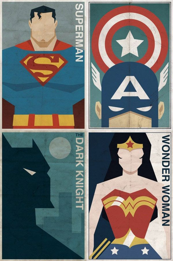 Vintage-style posters of your classic comic book heroes.