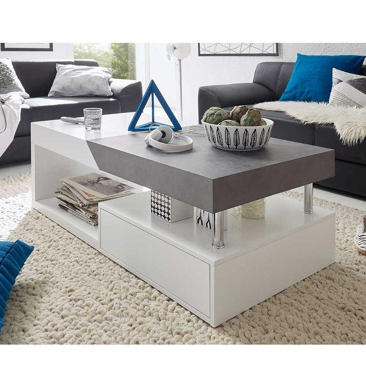 Wohnzimmer Couchtisch In Weiss Grau Beton Optik 120 Cm Jetzt Bestellen Unter