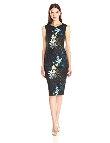 Ted Baker Women's Loua Twilight Floral Fitted Dress Loua twilight printed  floral midi dress with exposed metallic zip and crossover neck detail