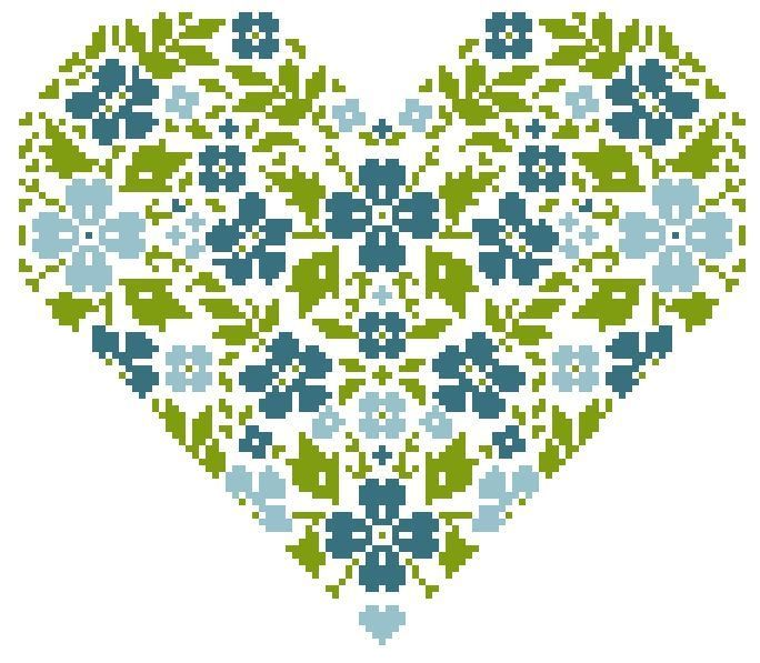 Flower heart.  Excellent chart - follow through to French language version.  but floss descriptions are in French, with no DMC numbers.  Will be easy enough to take pattern to shop and match the three colors.