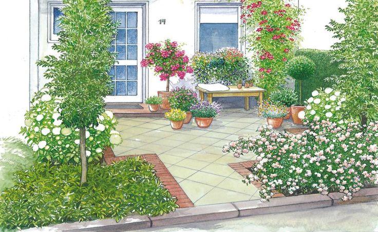 Unsere erste Gestaltungsidee verwandelt den Vorgarten in einen Hofgarten