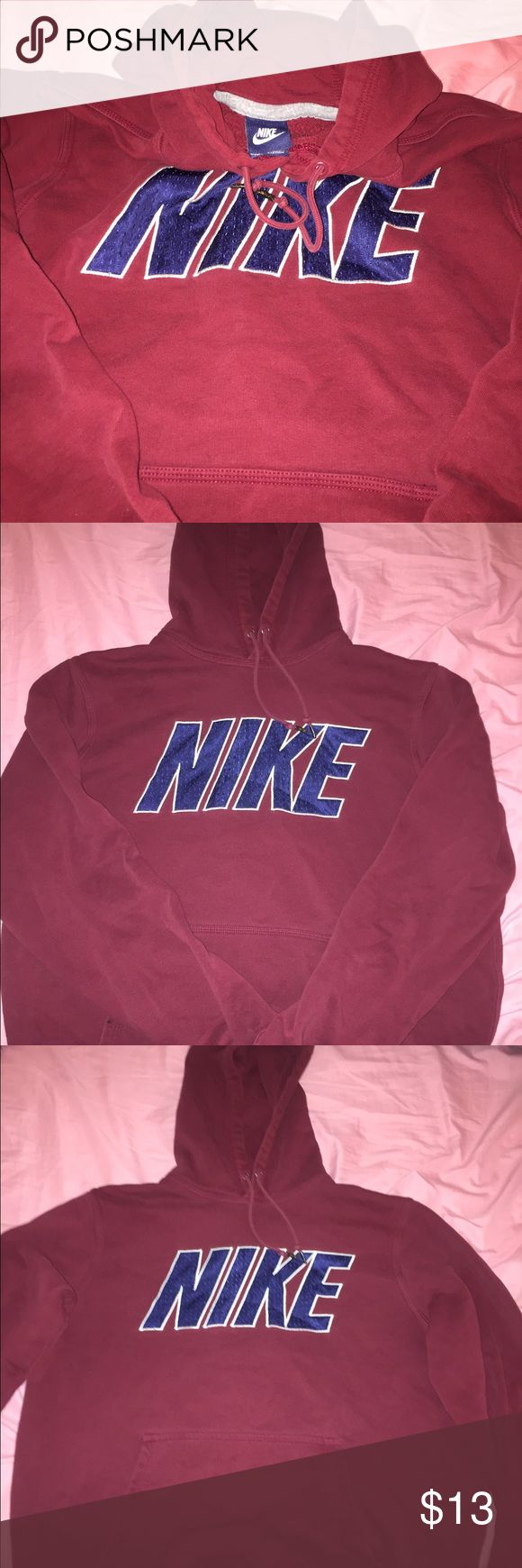 Red Nike Hoodie Size Large Nike Hoodie, goes perfect with a pair of tights, Nike Sweaters Crew & Scoop Necks