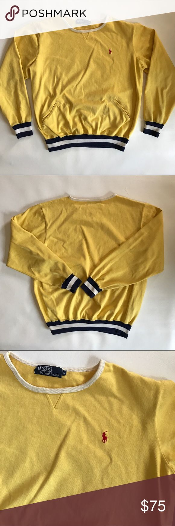 Polo by Ralph Lauren Vintage Yellow Sweatshirt This is an a-mazing, vintage, yellow Polo by Ralph Lauren sweatshirt. It's not exactly cropped, but it is shorter in style.  It is vintage so there are a few flaws shown in the last 3 pictures.  Small stain on the arm and pocket and the stitching is coming undone along the neck.  Yellow with blue and white band around hem.  Red embroidered horse. Size large.  Bust flat 24.5, length 25.  100 cotton.  Total 90s! D50 Polo by Ralph Lauren Tops…