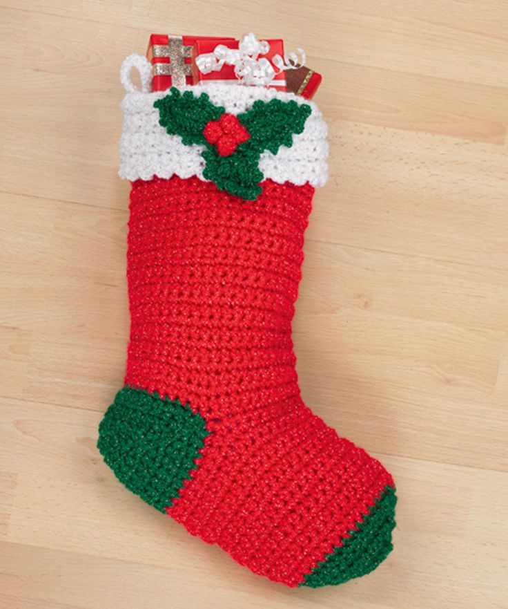 Crochet Holly Stocking- lost my basic stocking pattern, this should do...no worries, my crochet is far jazzier than this :)