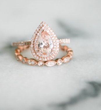 double halo diamond and morganite engagement ring