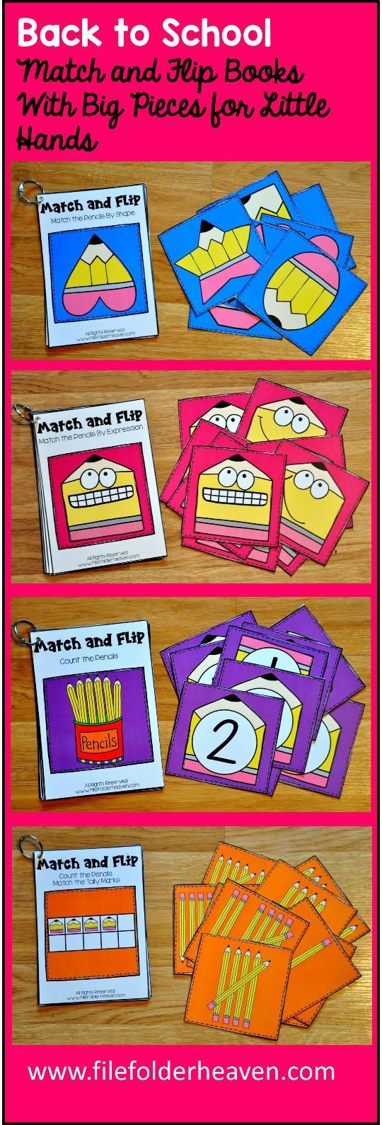 These Matching Activities: Back to School Match and Flip Books III focus on basic matching skills and have a pencil theme. In these activities, students work on matching picture to picture (matching by expression), matching by counting, and matching by shape. There are four Match and Flip Books included in this download. Match the Pencils By Expression (Matching Picture to Picture) Match the Pencils By Shape (Matching By Shape) Count the Pencils/Match the Numbers (Matching By Counting) Count
