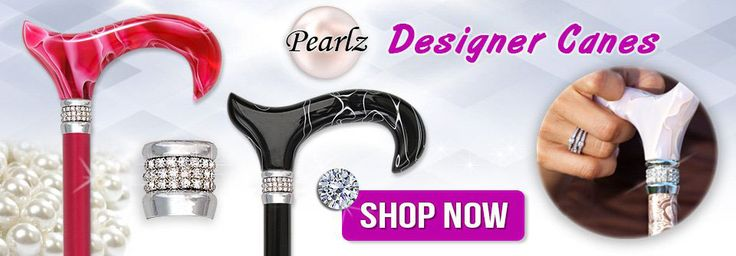 Pearlescent Walking Canes with Rhinestone Collars