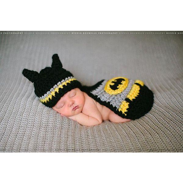 Batman Crochet Set, Bat Baby found on Polyvore