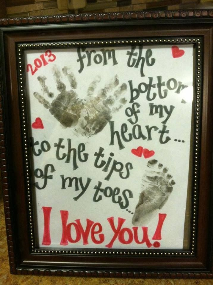 Cute gift for parents. If i got a big enough paper, have all the kids sign it with their hand prints.