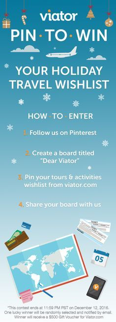 """Today is the last day to submit your """"Dear Viator"""" board for a chance to win a $500 Viator gift card! Share with us your holiday travel wishlist for a chance to win!"""