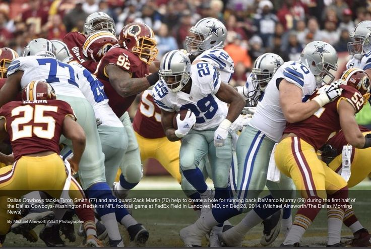 NFL All-pro linemen, Tyron Smith (77) and Zack Martin (70) clear a hole for All-pro running back, DeMarco Murray - Dallas Cowboys (via The Dallas Morning News)    #Dallas #Cowboys #DallasCowboys #NFL #NFC #FightToTheFinish #AmericasTeam