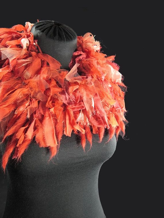 Designer's knitted choker scarf, pure wool and alpaca, frayed silk ribbons, tulle, orange, hand-made by kalani
