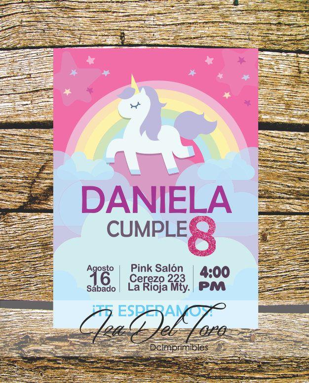 Invitación Cumpleaños Digital Unicornio, Rosa, Arcoiris. de DCImprimibles en Etsy