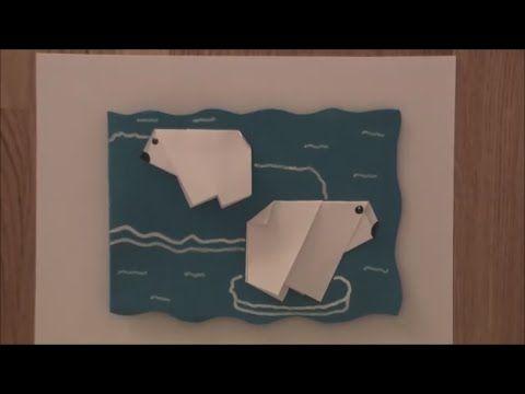 Origami Eisbären Karte / Eisbär falten Papier Basteln DIY Selbermachen
