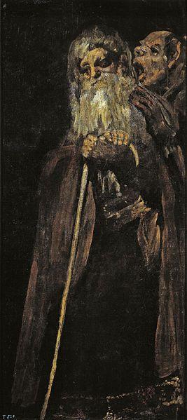 Dos monjes(Two monks). 오른쪽 남자는 백발의 노인 귀에 대고 무언가를 말하고 있다. 제목에는 '두 수도사'라고 나와있지만 분명 노인의 등에 달라붙어있는 것은 악귀임에 틀림없다.  이 악귀는 노인에게 이제는 떠나야 할 때라고 말하고 있는 것일까..?귀가 어두운 노인의 모습은 귀머거리였던 고야 자신의 모습을 투영한 것만 같다.  전 작품들에 비해 죽음에 대해 다소 평온해 보이는 노인의 모습. 과연..?