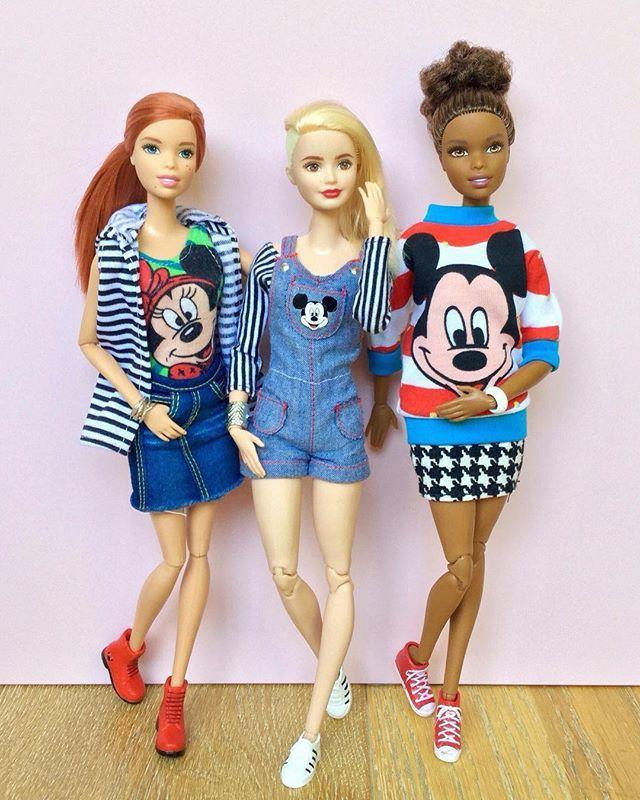 More Disney Style!  #barbiedoll #barbiemadetomove #madetomovebarbie #barbiefashionista #barbieclothes #dollclothes #dollcollector #barbiestyle #disneystyle #mickeystyle #minniestyle #disneydoll #disneyfashion #denimoveralls #mickeysweater