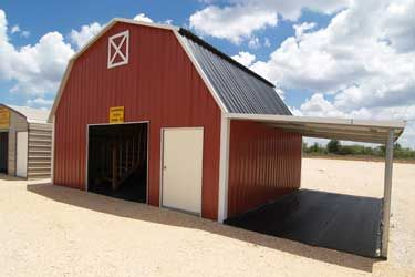 Red Gambrel Barn With Lean To Scandinavian Design In