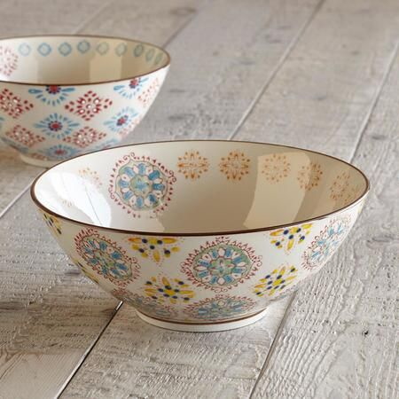 BOHEME SERVING BOWL, LARGE - A longtime favorite Sundance offering, a ceramic serving bowl that celebrates variety being the spice of life with a mismatched medley of medallion and floral patterns and colors.